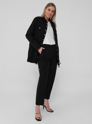 Black - Point Collar - Unlined - Plus Size Jacket