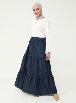 Navy Blue - Unlined - Skirt - Casual