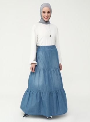Blue - Unlined - Skirt - Casual