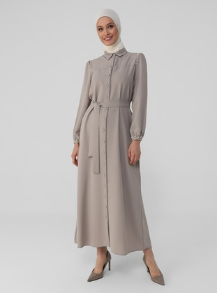 Stone - Point Collar - Unlined - Modest Dress