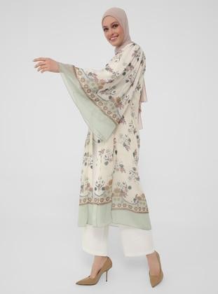 Belted Chiffon Abaya - Green - Refka Woman