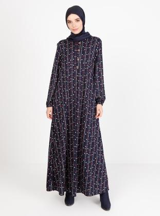 Fuchsia - Polka Dot - Crew neck - Unlined - Modest Dress