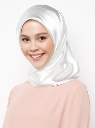 White - Ecru - Plain - Scarf