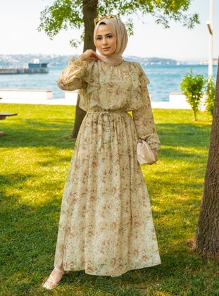 Beige - Floral - Crew neck - Fully Lined - Modest Dress
