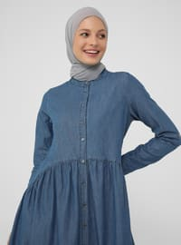Indigo - Button Collar - Unlined - Modest Dress