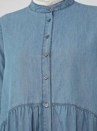 Blue - Button Collar - Unlined - Modest Dress