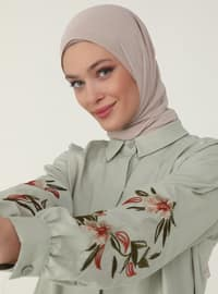 Embroidered Sleeve Poplin Tunic - Pelican - Woman