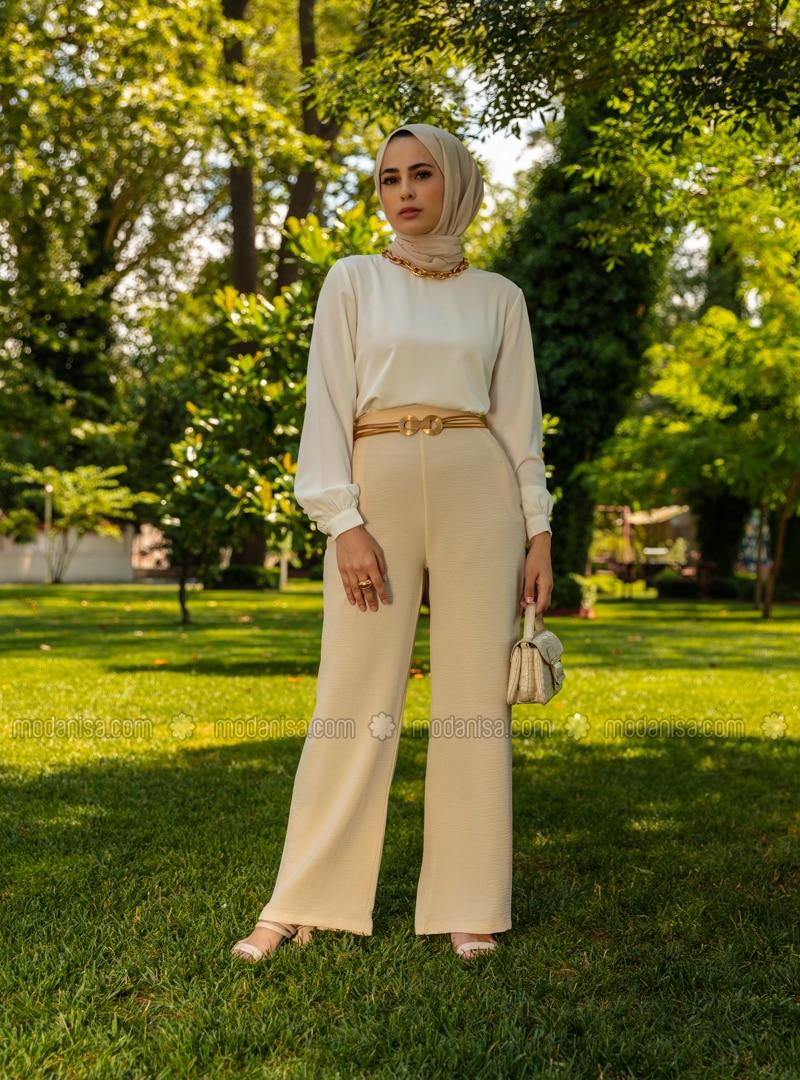 Aerobin Suit Trousers - Beige - Woman
