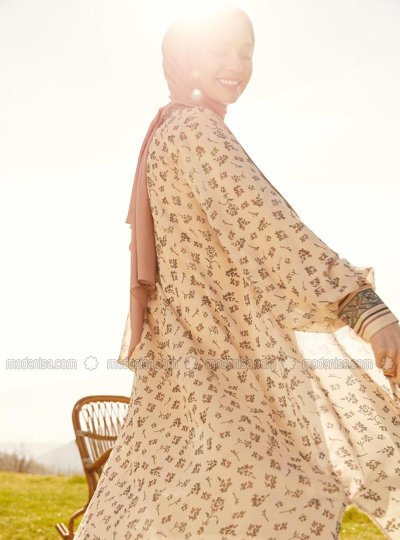 Balloon Sleeve Chiffon Abaya - Beige Flower - Woman