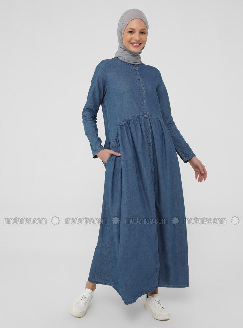 Indigo - Button Collar - Unlined - Modest Dress