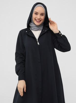 Windbreaker / Topcoat with Detachable Hood - Navy Blue - Casual