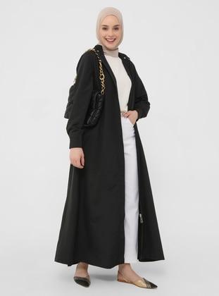 Windbreaker / Topcoat with Detachable Hood - Black - Casual