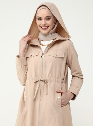 Snap And Waist Detailed Trench Coat - Almond - Refka Casual