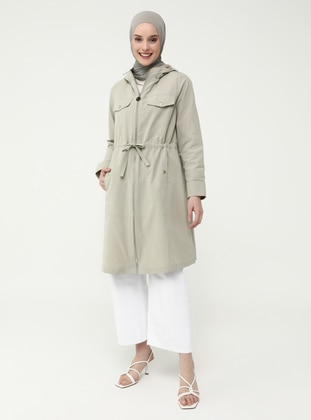 Snap And Waist Detailed Trench Coat - Pelican - Refka Casual