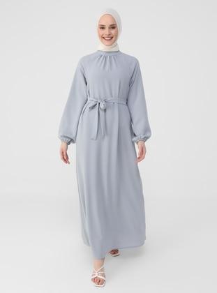 Gray - Blue - Crew neck - Unlined - Modest Dress