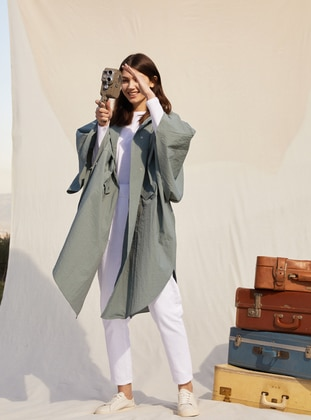 Poncho Cut Relax Trench Coat - Thyme - Refka Casual
