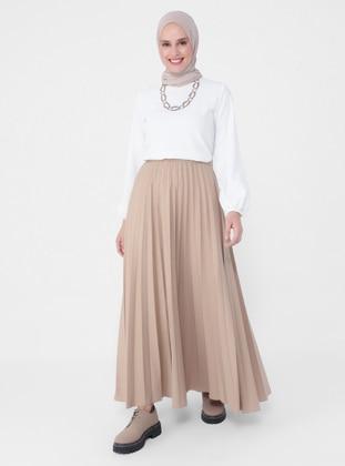 Beige - Unlined - Skirt - Refka Casual