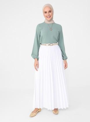 White - Ecru - Unlined - Skirt - Refka Casual