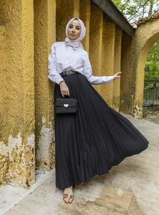 Black - Unlined - Skirt - Refka Casual