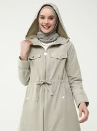 Snap And Waist Detailed Trench Coat - Pelican - Casual