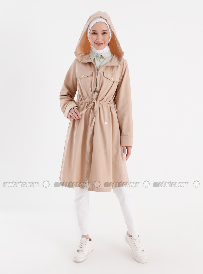Snap And Waist Detailed Trench Coat - Almond - Casual