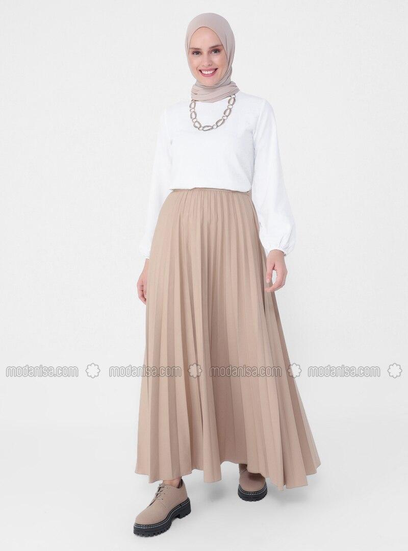 Beige - Unlined - Skirt - Casual