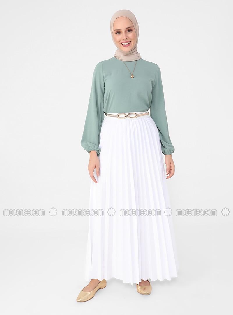 White - Ecru - Unlined - Skirt - Casual