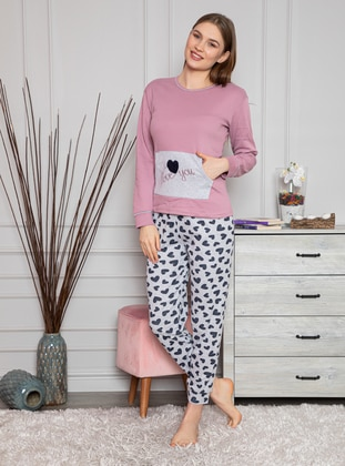 Lilac - Crew neck - Multi - Pyjama Set - Fawn
