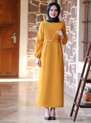 Mustard - Unlined - Crew neck - Modest Evening Dress