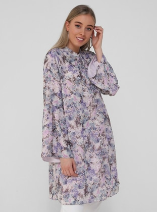 Oversize Tunic - Lilac Floral Print