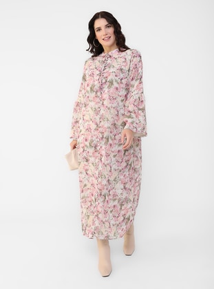 Oversize Floral Print Ribbon Collar Chiffon Dress - Powder