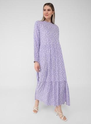 Lilac - Floral - Unlined - Crew neck - Plus Size Dress - Alia