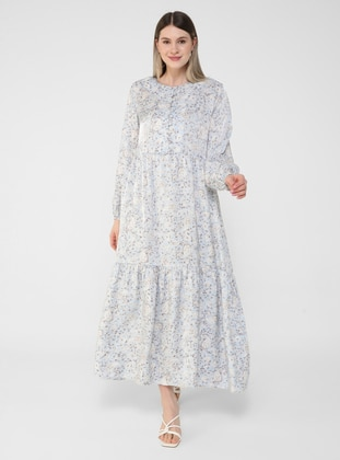 Blue - Shawl - Unlined - Button Collar - Plus Size Dress