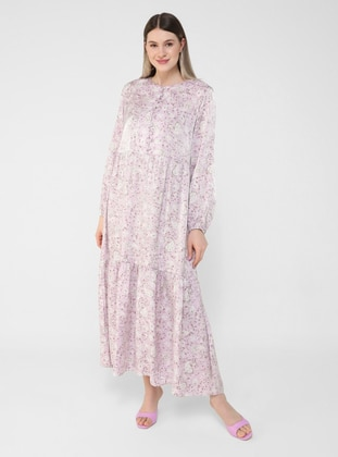 Pink - Shawl - Unlined - Button Collar - Plus Size Dress