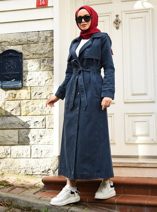 Indigo - Unlined - Shawl Collar - Trench Coat - Neways