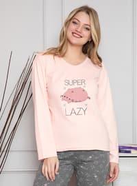 Salmon - Crew neck - Multi - Pyjama Set
