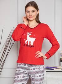 Red - Crew neck - Multi - Pyjama Set