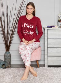 Maroon - Crew neck - Multi - Pyjama Set