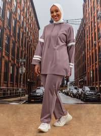 Oversize Tunic&Trousers Tracksuit Set - Dusty Lilac