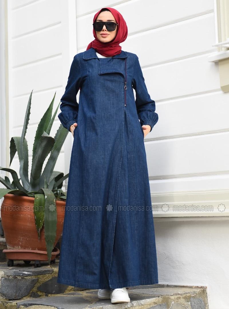 Navy Blue - Unlined - Round Collar - Abaya