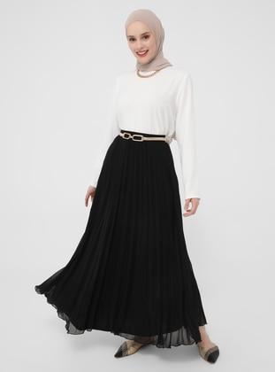Black - Fully Lined - Skirt - Refka