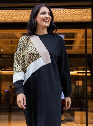 White - Ecru - Black - Stone - Multi - Leopard - Unlined - Crew neck - Plus Size Dress - Alia