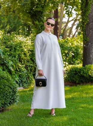 White - Black - Stripe - Unlined - Point Collar - Plus Size Dress