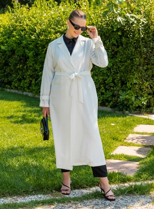 White - Black - Stripe - Unlined - Shawl Collar - Plus Size Coat