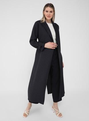 White - Navy Blue - Stripe - Unlined - Shawl Collar - Plus Size Coat