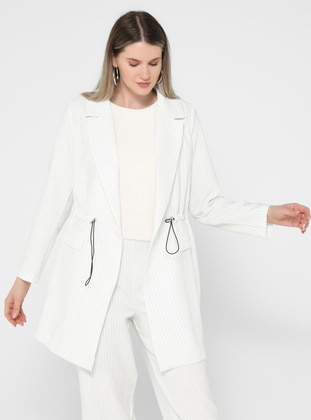 White - Black - Stripe - Shawl Collar - Unlined - Plus Size Jacket - Alia