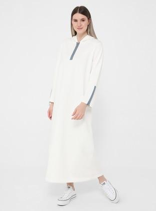 Ice Blue - Ecru - Unlined - Plus Size Dress