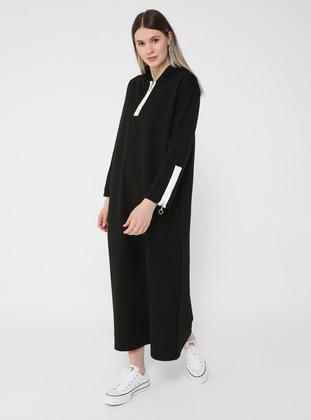 White - Black - Unlined - Plus Size Dress
