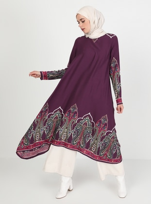Plum - Multi - Crew neck - Tunic
