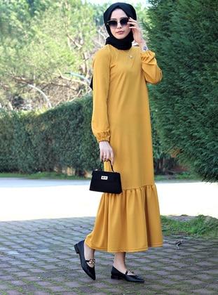 Mustard - Crew neck - Unlined - Modest Dress